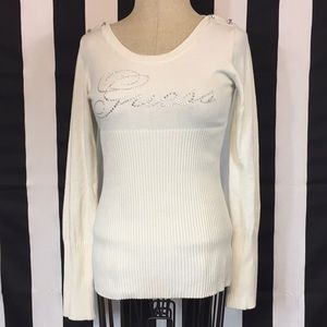 Guess bling sweater with rhinestone buttons
